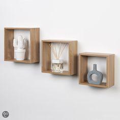 bol.com | Duraline Kubussen Wanddecoratie - Set van 3 - Eiken | Wonen