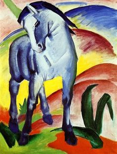 F. Marc, Il cavallo blu, 1911, olio su tela, Stadtische Galerie im Lenbachhaus, Monaco