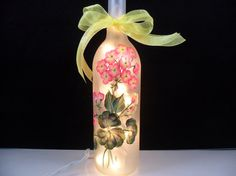 Lighted Frosted Wine Bottle Pink Geraniums Hand Painted 750 ml