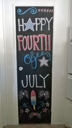 Of July chalkboard art. By: Christle's Creations - Chalk Art İdeas in 2019 Chalkboard Designs, Chalkboard Art, Chalk Wall, Chalk Board, July Crafts, Patriotic Crafts, Happy Fourth Of July, July 4th, Chalk Art Quotes