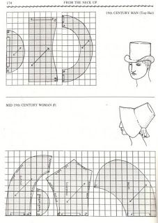 Come fare una tuba/modelloPattern of Hatchapeus masc e femGentleman and ladies hat and bonnet pattern! Good for Thanksgiving Pilgrims. Costume Patterns, Doll Clothes Patterns, Doll Patterns, Vintage Patterns, Clothing Patterns, Sewing Patterns, Sewing Hacks, Sewing Crafts, Sewing Projects