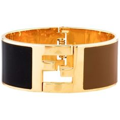 Pre-owned Fendi Gold Tone, Black & Brown Enamel Cuff Bracelet With... (€275) ❤ liked on Polyvore featuring jewelry, bracelets, accessories, brown bangles, fendi, fendi jewelry, gold tone cuff bracelet and hinged bangle