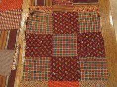 Nine Patch Quilt Blocks Pre Civil War Browns   eBay seller gb-best, blocks are 8 x 8.5 inches, hand pieced, 1840/60s