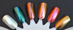 L-R: Moonstone, Scarab, Copperhaead, Firefly, Lava, Plume. Sally Hansen lustre shine summer 2013. <3