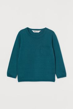 Fine-knit pocket-detail jumper - Dark turquoise - Kids | H&M GB 2 Jumper, Men Sweater, H&m Gifts, Pocket Detail, Fashion Company, World Of Fashion, Style Guides, Personal Style, Turquoise