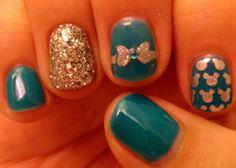 Teal Disney nails