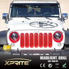Xprite Red Jeep Wrangler JK Front Grille Insert and Red Headlight Trim Kit for Jeep Wrangler JK