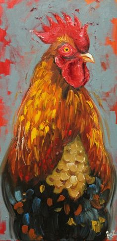 Texan, Roz Young painted this spectacular rooster. Don't you just love him? She has lots of paintings of farm animals at this link...cows, pigs etc.