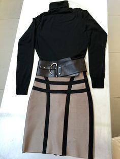 Hervé Leger bandage skirt in dark taupe and black, black Joseph polo neck jumper, black leather belt.  #HerveLeger #Joseph #fashion #separates #taupe #black #lifestyle #food #travel #London #blog #fizzoflifeblog www.fizzoflife.com