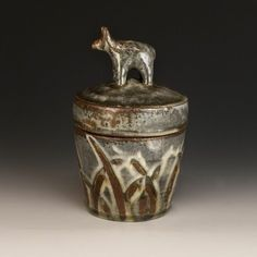 Bandana Pottery Animal Jar Wood fired local red clay, hand built, ash glaze, cone 10