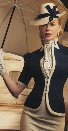 If only I could dress like this everyday. Nicole Kidman in the movie Australia via: If only I could dress like this everyday. Nicole Kidman in the movie Australia via: Moda Vintage, Vintage Mode, Vintage Hats, Vintage Chanel, Vintage Style, Vintage Dresses, Vintage Outfits, Vintage Fashion, Mode Style