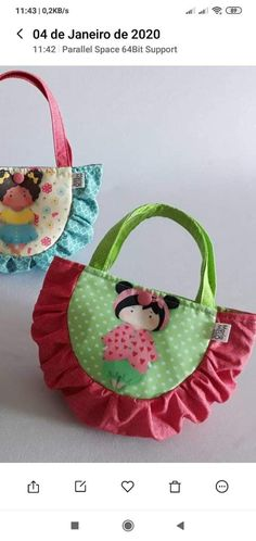 Diy Bags Patterns, Purse Patterns, Sewing For Kids, Baby Sewing, Diy Sewing Projects, Sewing Crafts, Felt Crafts, Fabric Crafts, Lace Bag