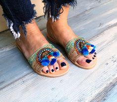 """Boho sandals """"Ocean"""", indian sandals, Blue sandals Bohemian sandals, Greek sandals, Leather sandals, handmade sandals, Pom pom sandals"""