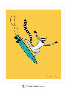 Surfing Lemur Art Print. Part of the A-Z surfing animal series. Gallery quality Giclee print on natural white, matte, ultra smooth, 100% cotton rag, acid and lignin free archival paper (250 gsm weight