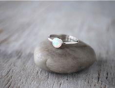 Opal Stacking Ring in Sterling Silver - Handcrafted Artisan Silver Ring  - Sterling Silver Opal Ring Stack by PrairieCoastArt on Etsy https://www.etsy.com/listing/128972313/opal-stacking-ring-in-sterling-silver