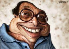 2º Lugar / 2° Place: WALTER TOSCANO (Peru) Caricatura Tema: Ruy Castro. 13º Salão Internacional de Humor De Caratinga, Brasil, 2015.