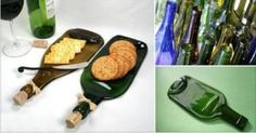 Recycling: make a snack board out of a wine bottle Melted Wine Bottles, Wine Bottle Art, Wine Bottle Crafts, Glass Bottles, Bottle Lamps, Diy Workshop, Pantry Labels, Cork Crafts, Bottle Painting