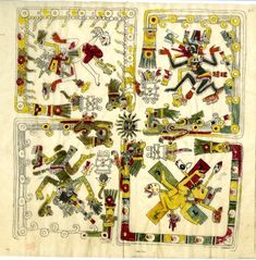 Codex; tracings of Codex Borgia, also known as Codex Borgianus and Códice Borgiano. A pre-Columbian pictorial manuscript; an important pictorial source for the study of Central Mexican gods, ritual, divination, calendar religion and iconography. P 43. British Museum, online collection.