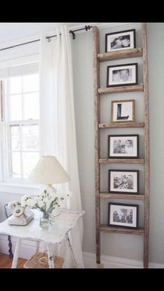30 charming farmhouse living room design and decoration ideas for your home . - room room home decor lighting room decor room decor wall office decor ideas decoration design room Antique Ladder, Vintage Ladder, Decor Vintage, Rustic Ladder, Vintage Style, Diy Ladder, Ladder Shelves, Vintage Industrial, Antique Decor