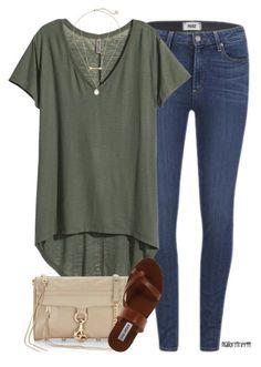 para el primavera: una camisa verde, los jeans, una bolsa, los sandalias. el precio: $30/26,73€
