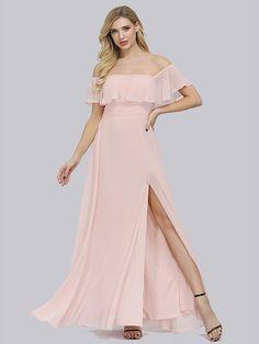 Fleepmart Plus Size Slash Neck Pink A Line Bridesmaid Dresses Vestidos De Soriee Party Dress 2020 Ruffle Sleeve Women Full Dress