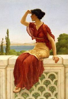 Una joven mirando en la distancia.