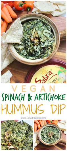 Spinach and Artichoke Dip Creamy and savory, with a hint of heat, this flavorful Warm Vegan Spinach and Artichoke Hummus Dip will wow a crowd in under 30 minutes (plus, it's full of plant-based protein and fiber… but you don't have to tell anyone that! Hummus Dip, Vegan Hummus, Pesto Hummus, Dairy Free Recipes, Vegetarian Recipes, Healthy Recipes, Vegetable Recipes, Healthy Appetizers, Appetizer Recipes