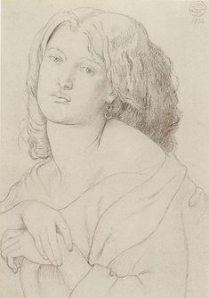 Graphite on paper portrait of Fanny Cornforth by Dante Gabriel Rossetti, 1869,