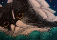 """Tuxedo Persian Angel Cat Resting in her Cloud"" par Cyra R. Cancel"