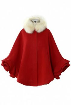 This will get you in the holiday mood!! Detachable faux fur collar ruffle cape!!