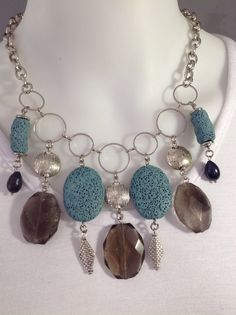 Short chunky charm bib style necklace with faceted smoky quartz, turquoise lava and black freshwater pearls - Michela Rae