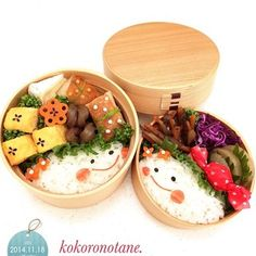 仲良し姉妹のお弁当♫微笑み合っている様子が、とってもハッピーな気分に。はんぺんやキャンディ包みのドットの模様でかわいさも倍増♡ Bento Recipes, Baby Food Recipes, Cooking Recipes, Cute Food, Yummy Food, Bento Box Lunch, Aesthetic Food, Japanese Food, Food Photo