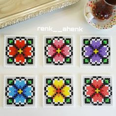 Flower coaster set hama beads by renk__ahenk