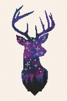 Space deer cross stitch patter