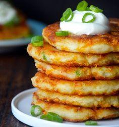 Cheesy Mashed Potato Pancakes - Adding Cheese is a good idea!!!