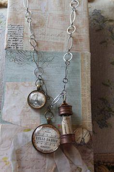Paris mixed media necklace copper bottle pendant by AlteredArtSoul, $35.00