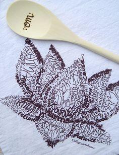 Lotus towel and wooden Om spoon