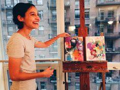 Conducting a studio visit at represented artist / actual ray of sunshine Sheila Arora's apartment in the Loop (look at that view!) and selling a painting to architect Chyanne Husar! Thank you for your support, Chyanne! And thanks to Sheila (pictured here) for letting us into your home and your mind! // (c) Jenny Lam 2016 // #art #painting #acrylic #acryliconcanvas #design #color #colors #colorful #paint #painter #abstract #abstractart #architecture #candid #photography #city #chicago #woc…