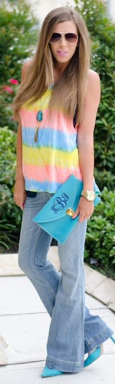 Riff Raff Pastel Multi Wide Stripe Oversize High And Low Women's Tank
