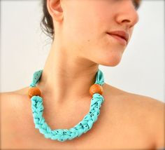 braided fabric necklace with large wooden beads