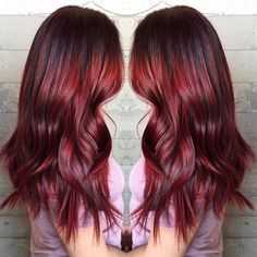 Beautiful berry red hair color by Masey of Butterfly Loft Salon. long red hair painting wavy hair www.hotonbeauty.com