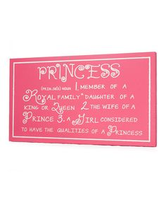 Pink 'Princess' Definition Wall Art by Twelve Timbers on #zulily
