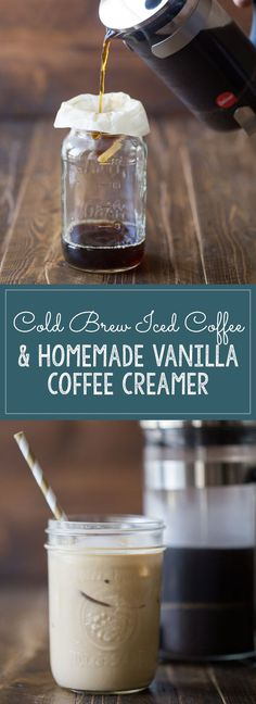 Cold Brew Iced Coffee and Homemade Vanilla Coffee Creamer - Lovely Little Kitchen Homemade Iced Coffee, Cold Brew Iced Coffee, Homemade Vanilla, Coffee Latte, Hot Coffee, Coffee Scrub, Easy Vanilla Iced Coffee Recipe, Coffee Shop, Cold Coffee Drinks