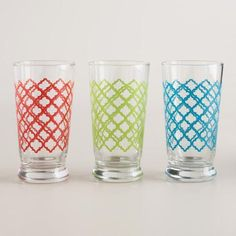 One of my favorite discoveries at WorldMarket.com: Quatrefoil Glass Tumblers, Set of 6