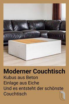 ein betonquader mit eingelassener massiver eiche dieser tisch besticht durch sein klares design hergestellt