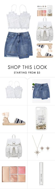 """""""60-Second Style: Asymmetric Skirts"""" by beebeely-look on Polyvore featuring Castañer, Kate Spade, Hourglass Cosmetics, Bobbi Brown Cosmetics, lace, denimskirt, asymmetricskirts, 60secondstyle and zaful"""