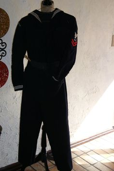 Vintage 1959 United States Navy Crackerjack Blue With White Trim Uniform Including Shirt And Pants