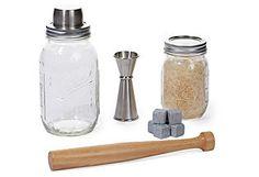 Mason Jar  Shaker Set w/ Stones