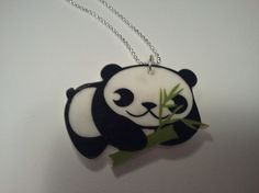 Panda With Bamboo Shrink Plastic Necklace
