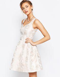 Image 1 ofCoast Bridget Jacquard Fit n Flare Dress in Pink